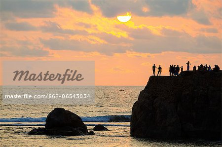 Sri Lanka, Southern Province, Galle, UNESCO World Heritage Site, Galle, sunset on the Indian Ocean Stock Photo - Rights-Managed, Image code: 862-06543034
