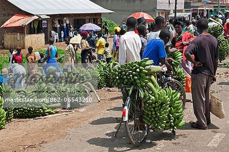 A roadside market with large quantities of green bananas, matoke, for sale, Uganda, Africa Stock Photo - Rights-Managed, Image code: 862-06543210