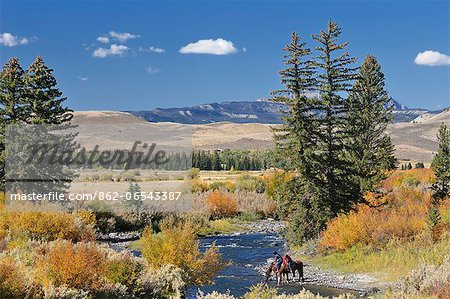 Cowboys along Wind River, near Dubois, Wyoming, USA Stock Photo - Rights-Managed, Image code: 862-06543387