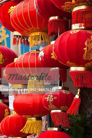 China, Yunnan, Jianshui. Lanterns hanging up outside a shop in Jianshui. Stock Photo - Rights-Managed, Image code: 862-06676269