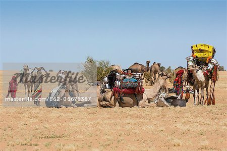 Chad, Batha, Wadi Achim, Sahel. A group of Arab Ouled Sliman nomads pause for water in the desert close to Wadi Achim. Stock Photo - Rights-Managed, Image code: 862-06676387