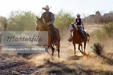 Cowboy and Cowgirl, Apache Spirit Ranch, Tombstone, Arizona, USA Stock Photo - Rights-Managed, Image code: 862-06677548