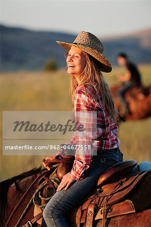 Tourist girl from Switzerland at Wilson Ranch, Guest Ranch and B&B, Fossil, Oregon, USA Stock Photo - Rights-Managed, Image code: 862-06677558