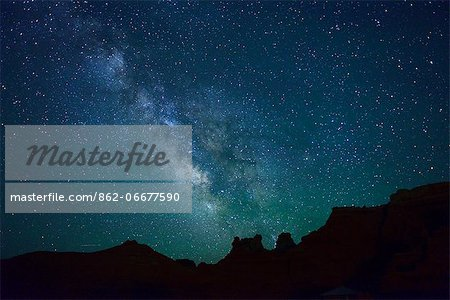 Night sky at Goblin Valley State Park, Colorado Plateau,  Utah, USA Stock Photo - Rights-Managed, Image code: 862-06677590