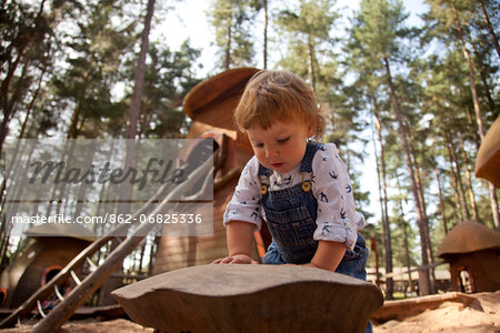 Nottinghamshire, UK. Young child playing at Sherwood Pines forest park. (MR) Stock Photo - Rights-Managed, Image code: 862-06825336