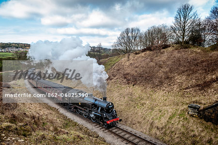 Europe, England, West Yorkshire, Steam Train, Stock Photo - Rights-Managed, Image code: 862-06825390