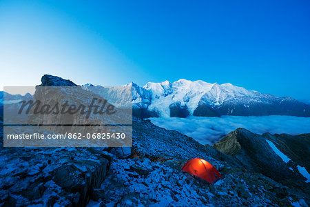 Europe, France, Haute Savoie, Rhone Alps, Chamonix Valley, Mont Blanc (4810m) Stock Photo - Rights-Managed, Image code: 862-06825430