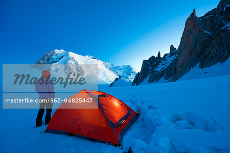 Europe, France, Haute Savoie, Rhone Alps, Chamonix Valley, camping beneath Mont Blanc (4810m); (MR) Stock Photo - Rights-Managed, Image code: 862-06825447