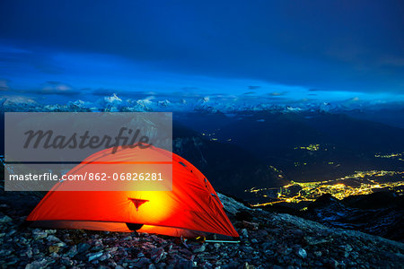 Europe, Swiss Alps, Switzerland, Bernese Oberland, Trubelstock (2998m), illuminated tent above Sion Stock Photo - Rights-Managed, Image code: 862-06826281