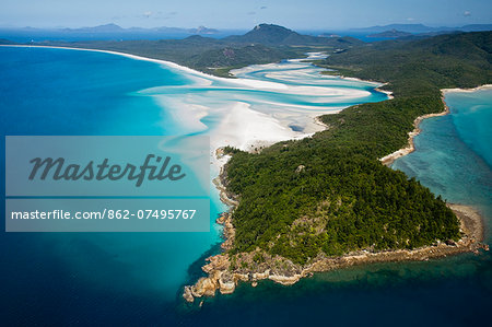 Australia, Queensland, Whitsundays, Whitsunday Island.  Aerial view of Tongue Point, Hill Inlet and Whitehaven Beach in Whitsunday Islands National Park. Stock Photo - Rights-Managed, Image code: 862-07495767