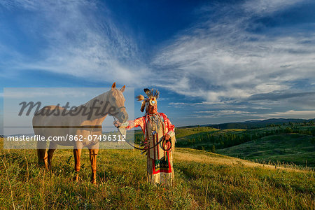 Lakota Indian in the Black Hills with Horse, Western South Dakota, USA. MR Stock Photo - Rights-Managed, Image code: 862-07496312
