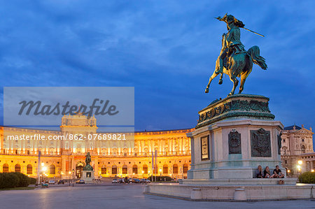 Austria, Osterreich. Vienna, Wien. Hofburg Complex. Heldenplatz. The Imperial Palace, Archduke Charles statue and Prince Eugene of Savoy equestrian statue. Stock Photo - Rights-Managed, Image code: 862-07689821