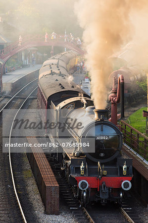 United Kingdom, England, North Yorkshire, Goathland. The steam train 61002, 'Impala', on the North Yorkshire Moors Railway. Stock Photo - Rights-Managed, Image code: 862-07689984