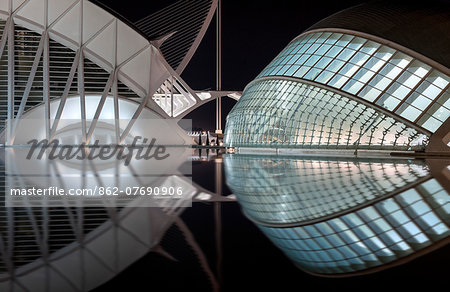 Europe, Spain, Valencia, City of Arts and Sciences, Principe Felipe Science Museum and Hemisferic Stock Photo - Rights-Managed, Image code: 862-07690906