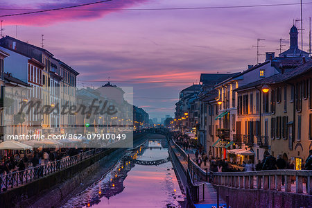 Naviglio Grande canal, Milan, Lombardy, Italy Stock Photo - Rights-Managed, Image code: 862-07910049