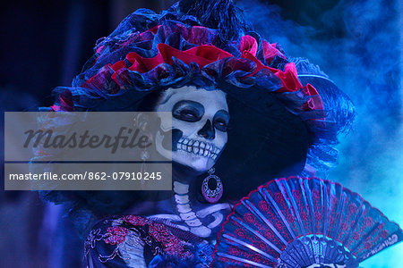 La Catrina, Day of the dead festivities, La Paz, Baja California, Mexico Stock Photo - Rights-Managed, Image code: 862-07910245
