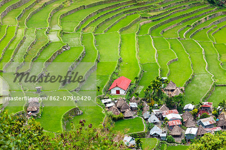 Asia, South East Asia, Philippines, Cordilleras, Banaue; Batad, Zoe Logos church and village houses in the UNESCO World heritage listed Ifugao rice terraces of the Philippine cordilleras Stock Photo - Rights-Managed, Image code: 862-07910420