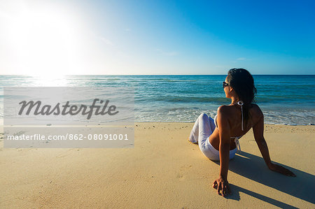 South East Asia, Philippines, The Visayas, Cebu, Bantayan Island, Sugar Beach, girl relaxing on the beach (MR) Stock Photo - Rights-Managed, Image code: 862-08091001