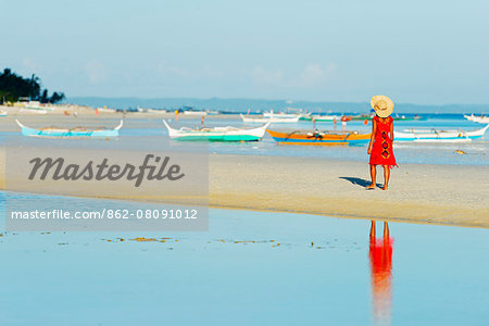 South East Asia, Philippines, The Visayas, Cebu, Bantayan Island, girl on Paradise Beach (MR) Stock Photo - Rights-Managed, Image code: 862-08091012
