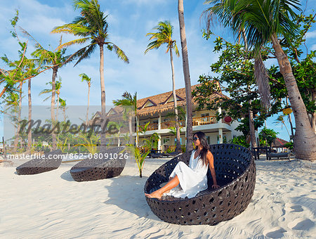 South East Asia, Philippines, The Visayas, Cebu, Malapascua island, girl on Bounty beach (MR) Stock Photo - Rights-Managed, Image code: 862-08091026
