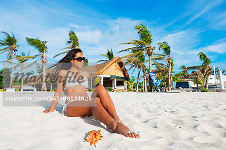 South East Asia, Philippines, The Visayas, Cebu, Malapascua island, girl on Bounty beach (MR) Stock Photo - Rights-Managed, Image code: 862-08091028