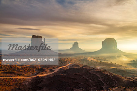 Sunrise view over the Mittens, Monument Valley Navajo Tribal Park, Arizona, USA Stock Photo - Rights-Managed, Image code: 862-08091452