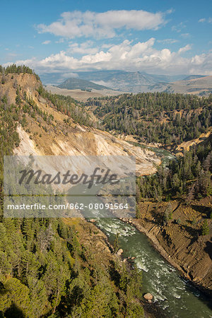 USA, Wyoming, Rockies, Rocky Mountains, Yellowstone, National Park, UNESCO, World Heritage, Grand Canyon of the Yellowstone looking towards Gardiner valley, Stock Photo - Rights-Managed, Image code: 862-08091564
