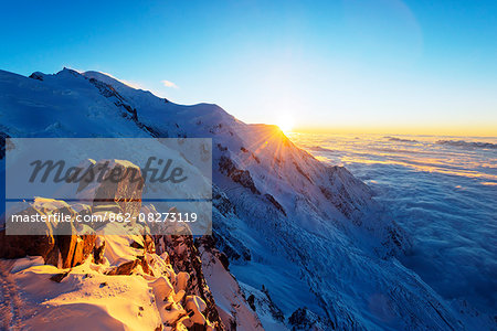 Europe, France, Haute Savoie, Rhone Alps, Chamonix, Mont Blanc (4810m), sunset Stock Photo - Rights-Managed, Image code: 862-08273119