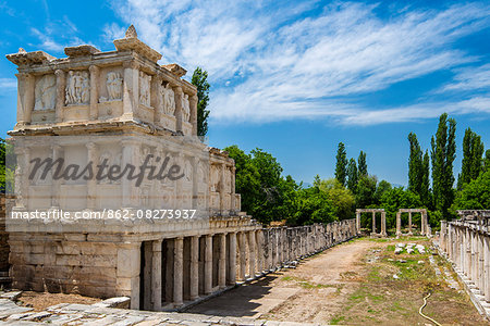 Sebasteion, a three storey high double colonnade decorated with friezes of Greek myths and imperial exploits, Aphrodisias, Aydin, Turkey Stock Photo - Rights-Managed, Image code: 862-08273937