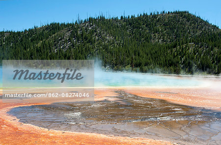 Grand Prismatic Spring in Yellowstone National Park, Wyoming, USA Stock Photo - Rights-Managed, Image code: 862-08274046