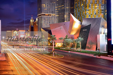 USA,Nevada,Las Vegas, The Las Vegas Strip at night near the city center development and New York New York Casino in the distance Stock Photo - Rights-Managed, Image code: 862-08274106