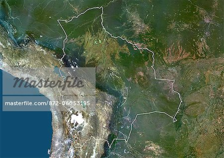 Bolivia, South America, True Colour Satellite Image With Border. Satellite view of Bolivia (with border and mask). This image was compiled from data acquired by LANDSAT 5 & 7 satellites. Stock Photo - Rights-Managed, Image code: 872-06053195