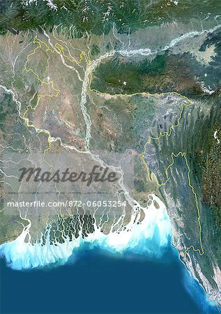 Bangladesh, Asia, True Colour Satellite Image With Border. Satellite view of Bangladesh (with border). This image was compiled from data acquired by LANDSAT 5 & 7 satellites. Stock Photo - Rights-Managed, Image code: 872-06053254