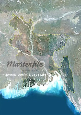 Bangladesh, Asia, True Colour Satellite Image With Border And Mask. Satellite view of Bangladesh (with border and mask). This image was compiled from data acquired by LANDSAT 5 & 7 satellites. Stock Photo - Rights-Managed, Image code: 872-06053255