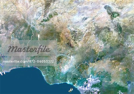 Nigeria, Africa, True Colour Satellite Image With Border. Satellite view of Nigeria (with border). This image was compiled from data acquired by LANDSAT 5 & 7 satellites. Stock Photo - Rights-Managed, Image code: 872-06053372