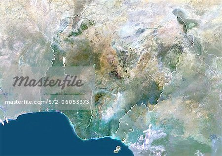 Nigeria, Africa, True Colour Satellite Image With Border And Mask. Satellite view of Nigeria (with border and mask). This image was compiled from data acquired by LANDSAT 5 & 7 satellites. Stock Photo - Rights-Managed, Image code: 872-06053373