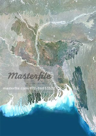Bangladesh, Asia, True Colour Satellite Image With Mask. Satellite view of Bangladesh (with mask). This image was compiled from data acquired by LANDSAT 5 & 7 satellites. Stock Photo - Rights-Managed, Image code: 872-06053522