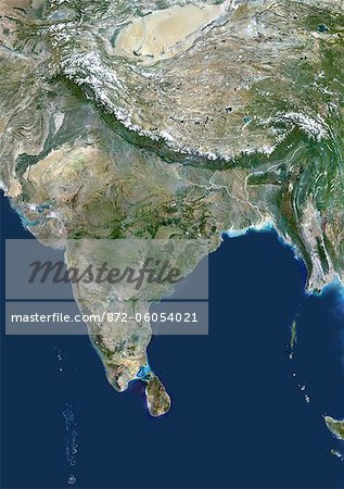 Satellite View of India and Surrounding Area Stock Photo - Rights-Managed, Image code: 872-06054021