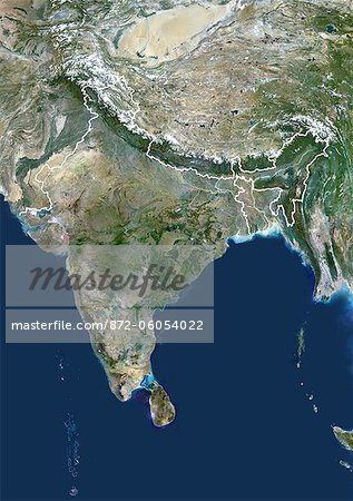 Satellite View of India and Surrounding Area Stock Photo - Rights-Managed, Image code: 872-06054022