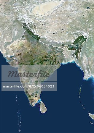 Satellite View of India and Surrounding Area Stock Photo - Rights-Managed, Image code: 872-06054023