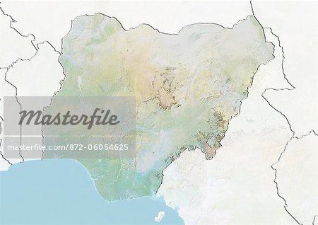Nigeria, Relief Map With Border and Mask Stock Photo - Rights-Managed, Image code: 872-06054625