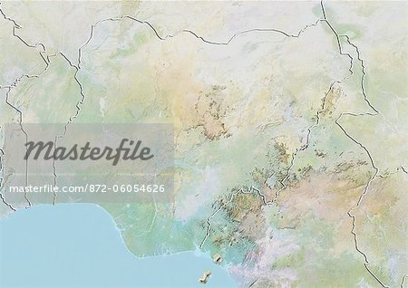 Nigeria, Relief Map With Border Stock Photo - Rights-Managed, Image code: 872-06054626
