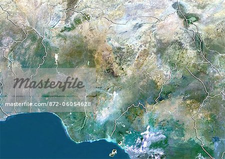 Nigeria, True Colour Satellite Image With Border Stock Photo - Rights-Managed, Image code: 872-06054628