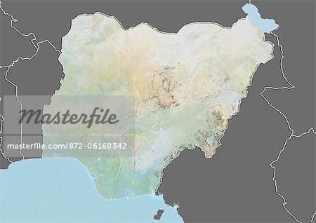 Relief map of Nigeria (with border and mask). This image was compiled from data acquired by landsat 5 & 7 satellites combined with elevation data. Stock Photo - Rights-Managed, Image code: 872-06160342