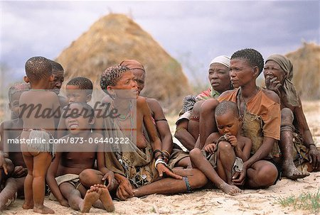 Bush People Sitting Outdoors Namibia Stock Photo - Rights-Managed, Image code: 873-06440222