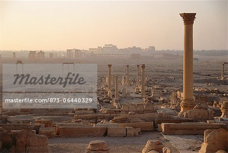 Pillars at Dusk Palmyra Ruins, Syria Stock Photo - Rights-Managed, Image code: 873-06440329