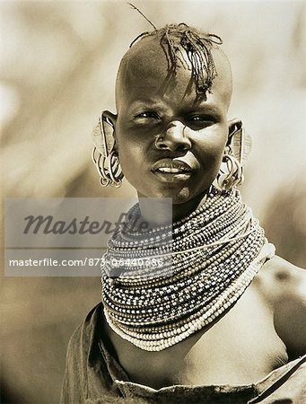 Portrait of Masai Woman Wearing Beads around Neck, Tanzania Stock Photo - Rights-Managed, Image code: 873-06440386