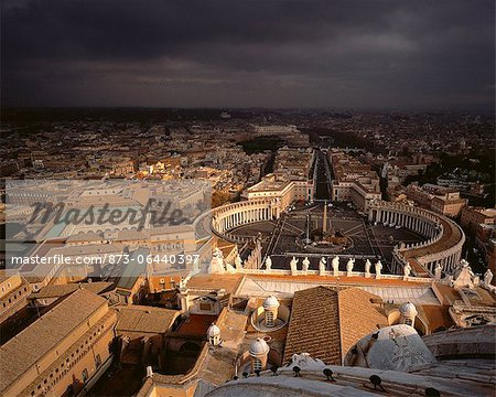 Aerial View of City and Storm Clouds Rome, Italy Stock Photo - Rights-Managed, Image code: 873-06440397