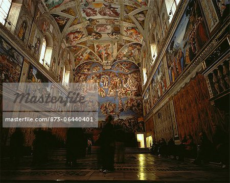 People Viewing Paintings in The Sistine Chapel, Rome, Italy Stock Photo - Rights-Managed, Image code: 873-06440401