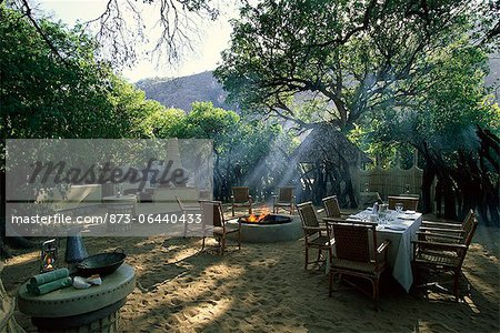 Outdoor Dining Area at Lodge Serengeti, Tanzania, Africa Stock Photo - Rights-Managed, Image code: 873-06440433